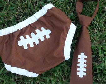 boy football smash cake outfit, football tie and diaper cover set, football first birthday diaper cover and tie set