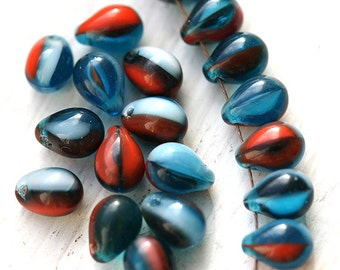 Red and Blue drop beads, czech glass teardrops, mixed color - 5x7mm - 30pc - 0053