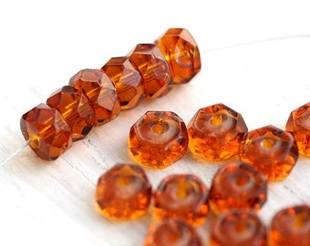 Amber Topaz Rondelle beads, brown fire polished czech glass spacers - 6x3mm - 25Pc - 1365
