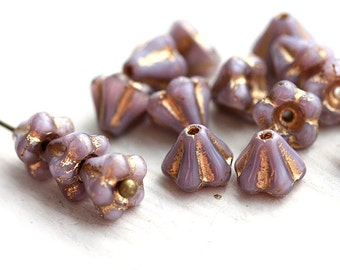Violet Bell Flowers, czech glass beads - golden inlays - 6x4mm - 15Pc - 1293