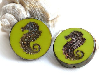 Seahorse glass bead - Yellow Green Picasso - czech glass beads, large, round, tablet shape, nautical, beach - 23mm - 2Pc - 1555