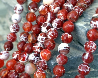 Natural Fire Agate 10mm Faceted Round Beads, 16-Inch Strand G01210
