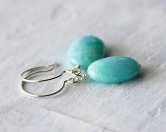 Aqua Blue Earrings: Peruvian Amazonite Oval Beads with Sterling Silver, Gemstone Jewelry, Simple Earrings
