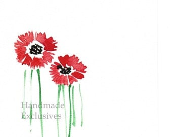 Handpainted Greeting card, Handmade card, Red Daisies,  Watercolor Card, Any occasion, Wedding, Blank, under 10, Handmade Exclusives