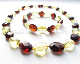 Luxury Baltic Amber Set of Necklace and Bracelet Olive Form Lemon and Cherry Color Faceted Beads