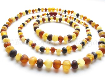 Set Of Raw Unpolished Multicolor Baltic Amber Baby Teething Necklace For Baby and Reminding Necklace and Bracelet for Mommy