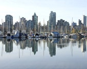 Vancouver photograph, Canadian city print, city skyline image, city harbour photo, urban landscape print, cityscape picture
