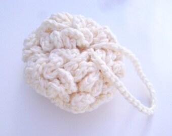 Crochet Spa Scrubby Kitchen Dish Cloth Scrubbie Shower Cotton Facial Bath Poof Wash Cloth Washcloth Ecru