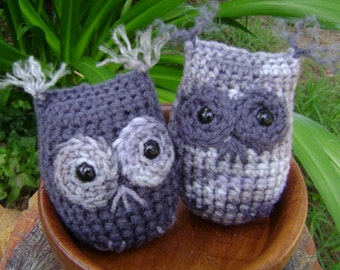 Crochet Owl Ornament Amigurumi Home Decor Country Rustic Shelf Sitter Bowl Filler Set of 2