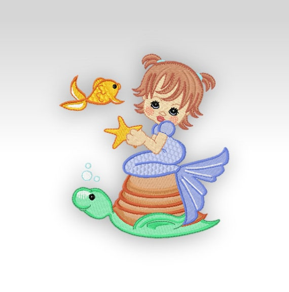 Mermaid machine embroidery design precious