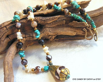 Nepal necklace, turquoise necklace, agate necklace, turquoise, brown, white necklace