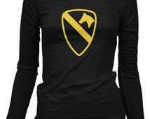 Women's 1st Cavalry LS Tee - Long Sleeve Ladies Army T-shirt - S M L XL 2x - 2 Colors