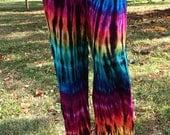Tie Dye Pants, Wide Leg Pants, Boho Pants, Plus Size Pants, Rayon, Hippie Pants, Rainbow