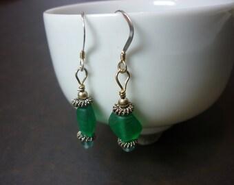 simple teal seaglass earrings