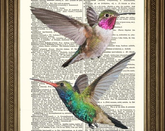 """HUMMING BIRDS: Green & Red Love Heart Birds, Vintage Dictionary Page Art Print Gift (8 x 10"""")"""