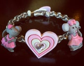 Pretty Pink Mice Button Hemp Bracelet