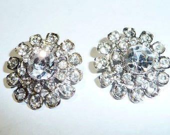 Two Sparkly Rhinestone Metal Buttons on Etsy