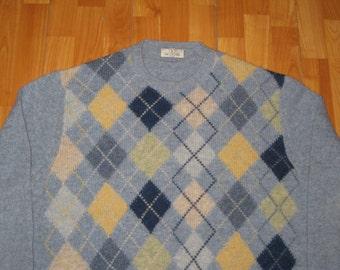 Vintage 1980s Valentino Argyle Crewneck Knit Sweater