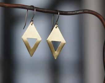 Geometric earrings - minimalist brass earrings - Brass diamond triangle shape earrings