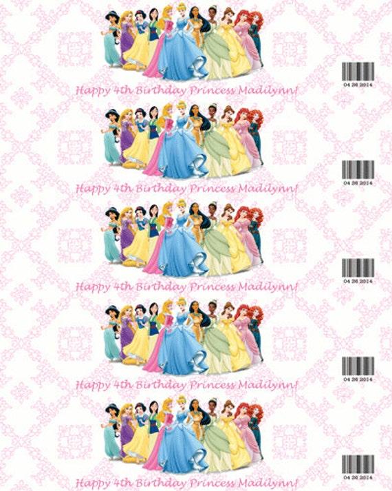 Items Similar To Diy Disney Princesses Water Bottle Labels