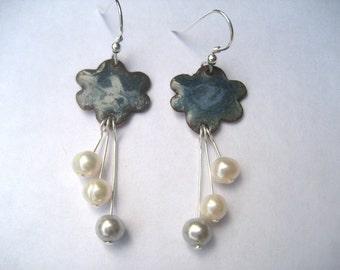 Welsh raincloud enamelled earrings with freshwater pearls