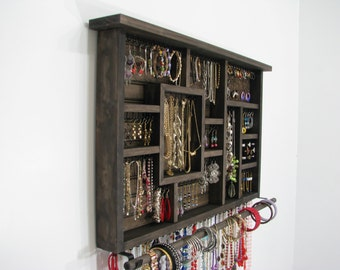 Espresso Stained Jewelry Organizer
