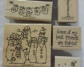 Flaky Friends Stampin' Up set of 8 wood mounted rubber stamps