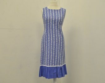 60s Vintage Blue Pattern Mid-Length Mod Shift Dress size S