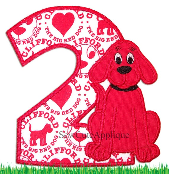 Clifford The Big Red Dog Birthday Number No Sew Applique Patch