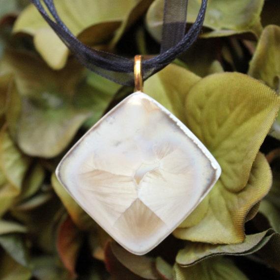 Handmade Ceramic Pendant - Crystal Crystalline Glaze Porcelain - Diamond Shape Necklace Jewelry OOAK