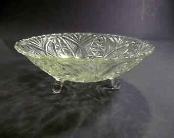 Fan and Arch Anchor Hocking Crystal Glass Footed Dish Vintage