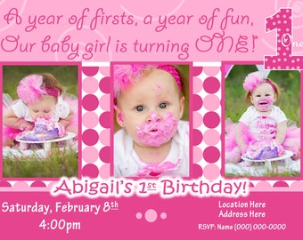 Everything One Birthday Party St Birthday Girl Invitation St - Birthday invitation 1 year old baby girl