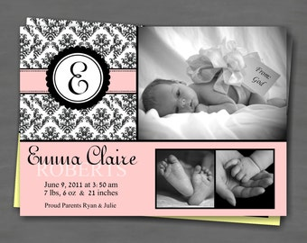 Baby Girl Photo Birth or Adoption Announcement with Color Options; Black Damask with Monogram