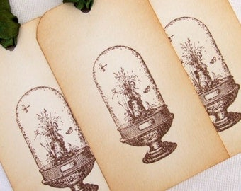 Terrarium Gift Tags, Set of 6, Cloche Garden, Decorations, Favor, Hang Tags, Vintage Style, Wedding, Luxury Tags, Choice of Ribbon Colours