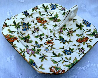 Candy Dish Hand Painted Japan Trinkets Jewelry Vanity Chintz Floral Garden Decor Destash Upcycle Crafts