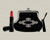 Purse Lipstick Mascara Beauty Makeup Fashion Art Wall Decor Printable Digital Download for Iron on Transfer Fabric Pillows Tea Towels DT294