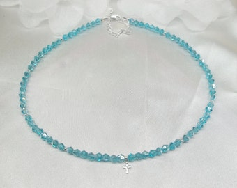Girls Necklace Aquamarine Necklace Crystal Necklace Cross Necklace Baby Necklace Adjustable Necklace 100% 925 Sterling Silver BuyAny3+1 Free