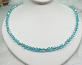 Light Blue Necklace Aquamarine Necklace 14k Gold Necklace Crystal Necklace Adjustable Necklace 14k Gold Filled Necklace BuyAny3+Get1 Free