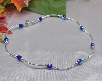 Sapphire Anklet Sapphire Ankle Bracelet Crystal Anklet Dark Blue Ankle Bracelet Cobalt Blue Anklet Sterling Silver Anklet BuyAny3+1Free