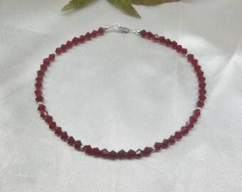 Crystal Garnet Ankle Bracelet Red Crystal Anklet Heart Anklet Swarovski Crystal Ankle Bracelet 100% 925 Sterling Silver BuyAny3+Get1Free