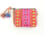 Small Purse Coin Pouch Bag Vintage HMONG Fabric Handmade Thailand (BG290VS.764)