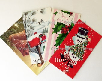 Christmas Cards Vintage, Antique Cards, Greeting Cards, Christmas Ephemera, Snowman Paper Craft, Holiday Scrapbook. Cards Only