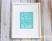 Basic Grocery List Kitchen Art Print with Handlettering