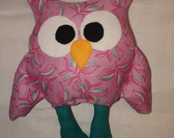 Children's homemade Stuffed owl, made to order owl plush, owl fabric owl, soft owl, owl toy, owl pillow, owl decor, pink floral and teal