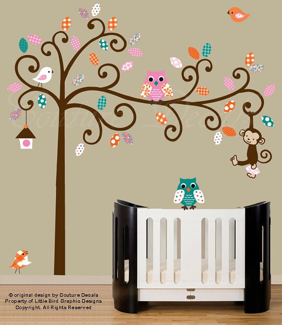 Childrens wall decals - nursery wall tree with owl decals - patterned vinyl wall art - pink, turquoise, orange - 0229