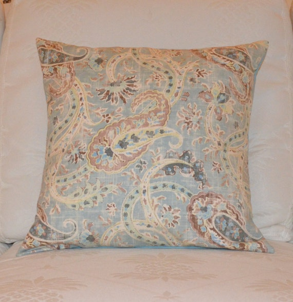 Handmade Accent pillow cover in light Blue Cream and Brown