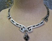 Alpaca Silver Necklace Choker Mexican Abalone Inlaid Mosaic NICKEL SILVER Vintage Boho Tribal Modernist Hand Crafted Artisan Articulated