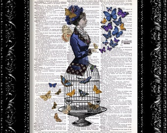 Steampunk Butterfly Lady Birdcage Print Vintage Dictionary Print Vintage Book Print Page Art Upcycled Vintage Book Art
