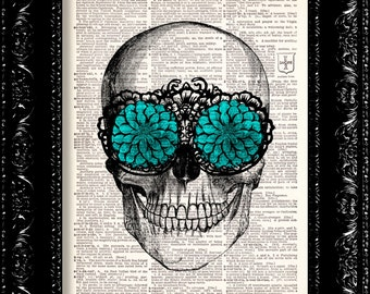 Skull With Teal Flowers - Steampunk Anatomy Art  - Vintage Dictionary Print Vintage Book Print Page Art Upcycled Vintage Book Art