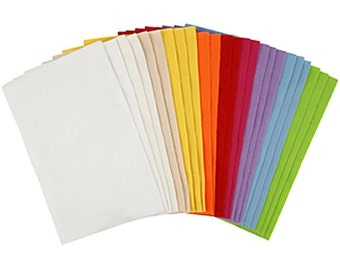 Craft Felt - Pack 24 Sheets - Bright Felts - Red Orange Yellow Green Blue Purple White Cream